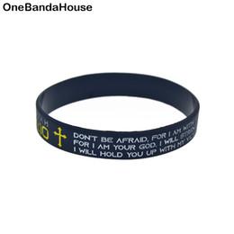 $enCountryForm.capitalKeyWord Australia - Hot Sell 1PC Isaiah 41 10 Do not Be Afraid Silicone Bracelet Religious Faith Wristband Black Adult Size
