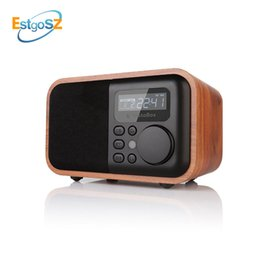 battery alarm clock mp3 2019 - EStgoSZ Wood Radio Bluetooth Speaker With FM Support Alarm Clock Display Time Micro SD TF Card USB Remote Controll MP3 P