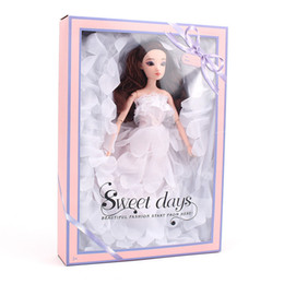 Chicken Clothes Australia - Barbie Doll White Tailing Will Wedding Dress Suit Gift Box A Doll Clothes Decorate Girl House Toys