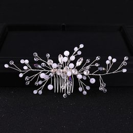 elegant hair combs UK - wholesale Bride Combs Hair Headwear Crystal Headdress Wedding Bridal Handmade Elegant Headpieces Luxury Jewelry Accessories