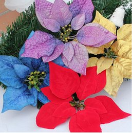 $enCountryForm.capitalKeyWord Canada - 100PCS 13 14 17 20 22CM For christmas decoration artificial silk flowers Xmas poinsettia flower heads Red Gold  Silver Purple Blue CF06