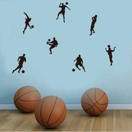 basketball bedroom Australia - Basketball football players'action black carved and pasted personality bedroom decoration self-pasted wall pasted cross-border hot new style