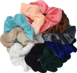 Chinese  10 Pcs Soft Feel Velvet Hair Scrunchie Ponytail Donut Grip Loop Holder Stretchy Hair band Clips manufacturers
