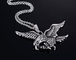Eagle Hawk Pendant Australia - Eagle Stainless Steel Necklace Men Woman Jewelry Trendy Sliver Color Wholesale Animal Hawk Wing Charm Pendant Necklace