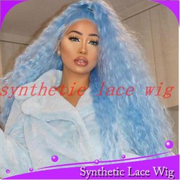 $enCountryForm.capitalKeyWord Australia - MAHAZEL 26in 180% density free part curly long hair light blue synthetic glueless front lace wig