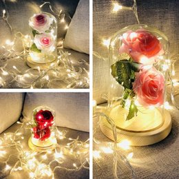 Novelty Plastic Glasses Wholesale Australia - 4 Colors glass cover rose decoration LED night light birthday party decoration lamp holiday gift LED Rose Flower Novelty Item T8I061