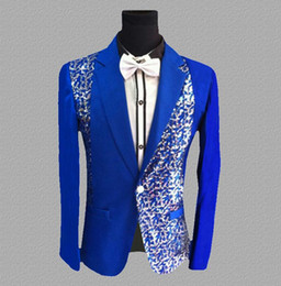 $enCountryForm.capitalKeyWord Australia - sequins blazer men suits designs jacket mens stage costumes for singers clothes dance star style dress punk masculino blue white