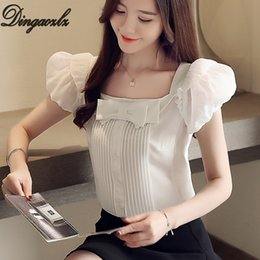Women White shirt boW tie online shopping - Dingaozlzl Summer New Sweet Chiffon Shirt Bow tie Women Tops Square Collar Office lady shirt New fashion White blouse