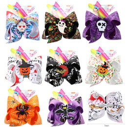 jojo siwa bows Australia - Hair Accessories 7'' Halloween Hair Bows for Girls Monster Print JOJO Siwa Hairgrips with Felt Bowknot Girls Dance Party Headwear