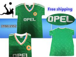 b5b5f9529 Top thailand 1990 1992 Ireland RETRO Soccer Jerseys Republic of Ireland  National Team Jersey 90 World cup Football kit soccer Shirt green