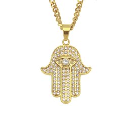 Gold hamsa necklaces online shopping - Designer Mens lucky hamsa hand pendant necklace hip hop Rock style Full cubic zirconia rope chain silver gold plated men necklace