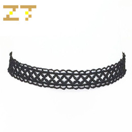supplier jewelry 2019 - Hot Sale China Supplier Gothic Black Lace Cross Patterned False Collar Statement Choker Necklace for Women Summer Jewelr