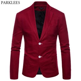 mens blue linen jacket 2020 - Wine Red Cotton Linen Suit Jacket Men Slim Fit Single Breasted Lightweight Blazers Mens Casual Party Wedding Blazer Masc