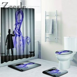 $enCountryForm.capitalKeyWord Australia - Zeegle Eco-Friendly Bathroom Bath Mats Shower Curtain Set Non Slip American Style Toilet Rug Microfiber Bathroom Carpets