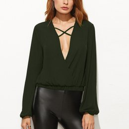 plain shirt blouse 2019 - Sexy Black Top Blouse Shirts Celmia 2019 Autumn Vintage Long Sleeve Plain Solid Loose Deep V Neck Blusas Femininas Plus