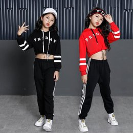 clothes for hip hop dancing Australia - Girls Loose Ballroom Jazz Hip Hop Dance Performance Costumes Hoodie Shirt Tops Pants for Kid Dancing Clothing Outfits Stage Wear