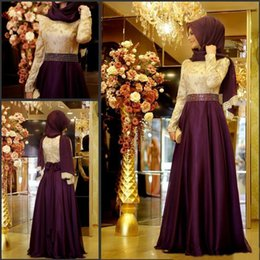 Discount long sleeve chiffon party dress hijab - Muslim Evening Dress With Long Sleeves Shiny Beading Waist Top Lace A-line Chiffon Burgundy Arabic Long Hijab Evening Dr
