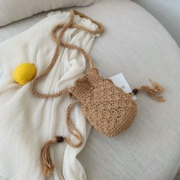$enCountryForm.capitalKeyWord Australia - Women Vintage Rattan Beach Straw Bags Popular Female Summer Mini Handbag Lady Woven bucket Bolsa Handmade Knitted Crossbody sac