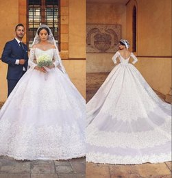 Wholesale 2019 White Appliques Lace Ball Gown Wedding Dresses With Sheer Long Sleeves Off The Shoulder Boho Bridal Gowns Plus Size Vestidos De Novia