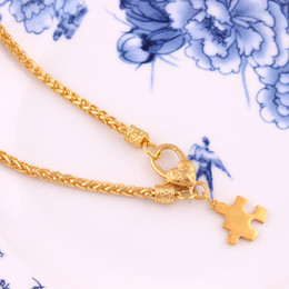 puzzle couple pendants Australia - Gold Plated Puzzle Piece Pendant Jigsaw Wheat Chain Necklace for Couple Friend Gifts