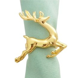 Cloth napkin sets online shopping - Christmas Deer Elk Napkin Circle Cross Border Explosion Models Napkin Cloth Buckle Christmas Decorations For Home Set
