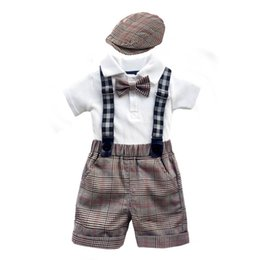 Chinese  newborn baby boy clothes newborn outfits baby suits boys clothing sets romper+suspender shorts+hats baby infant boy designer clothes A5739 manufacturers