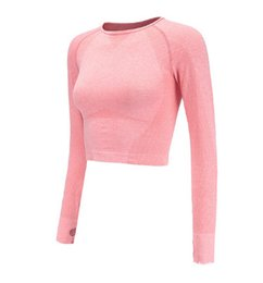 Pink Clothing Women UK - Home Clothing Sports Yoga Shirts Gym Seamless Crop Tops Fitness Women Compression T-Tights Shirt Running Active Workout Sportswear