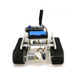 tank motor Canada - T100 Handle Bluetooth WiFi RC Control Robot Tank Chassis Car Kit For Arduino With UNO R3, 4 Road Motor Driver Board, WiFi Module
