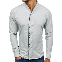 52444e7f478964 FeiTong 2019 New Shirt Of Men Top Brand Slim Fit Men Clothes Casual Solid  Design Buttons Shirt Long Sleeve Top Blouse Male