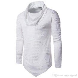 $enCountryForm.capitalKeyWord UK - Simple Tshirts Spring Men Holes Design Turtleneck Tops Long Sleeved T-shirt Casual Leisure Clothing Tees