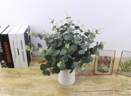 Wholesale Fake Flowers For Sale Australia - Hot sale Green Artificial Leaves Large Eucalyptus Leaf Plants Wall Material Decorative Fake Plants For Home Shop Garden Party Decor