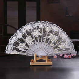hand crafted gifts Australia - Vintage 10 Colors Available Hands Fans Plastic Fan Bone Bamboo Hand Rose Lace Wedding Fans Arts and Crafts Wedding Favors Gift Cheap