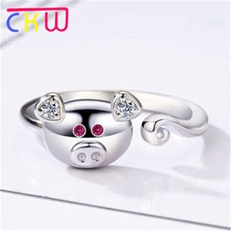 Birth Rings Australia - CKW Wholesale Korean Silver Pig Resizable Ring for Women Men Fashion Creative 2019 Birth Year Pig Zodiac Rings Jewelry