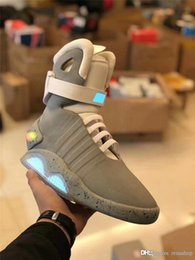 Dark Gray Boots Australia - Automatic Laces Air Mag Sneakers Marty McFly's LED Shoes Back To The Future Glow In The Dark Gray Boots McFlys Sneakers With Box Top qu