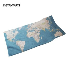 Cotton World Map Australia - INSTANTARTS World Map Microfiber Beach Towels Cotton Quick Drying Travel Sports Swimming Gym Yoga Bath Adults Spa Fitness Towels