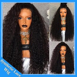 Tight Curls Hair Australia - Afro Kinky Curly Lace Front Synthetic Wig 180% High Temperature Japanese Fiber Tight Curl With Baby Hair Heat Resistant Hair For Black Women