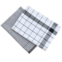 White Cotton Napkins Australia - 10pcs Nordic wind contracted black and white stripe checkerboard pure cotton western napkin cushion tea towel