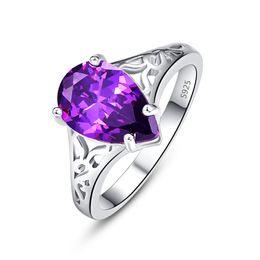 Korean Brass Australia - European and American new colored Gemstone ring; Large water drop zirconite ring, spot Korean version of personality diamond ring