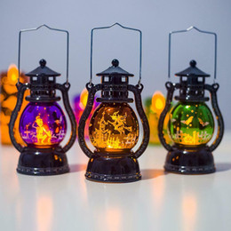 lighting oil lamps UK - Halloween Ornament Small Oil Lamp Hanging Retro Lights Holiday Party Atmosphere