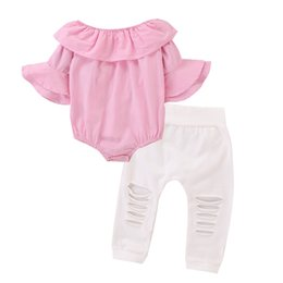 Wear Shirt For Girls Australia - Baby Girls Cute Pink Short Sleeve Shirt Vest + White Pants Casual Wear Outfits Clothes Fashion Newborn Clothing Set for Kids Toddler infant