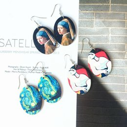 Painting Faces Australia - Europe and the United States retro wooden Renaissance oil painting earrings personality graffiti geometric wood ear hooks without ear clip