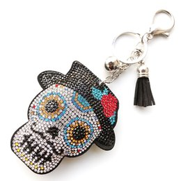 Hat keycHains online shopping - Skeleton Keychain Women Rhinestone Tassel Color Eye Hat Car Bag Accessories Tricky Taro Pendant Personality Cute Key Ring