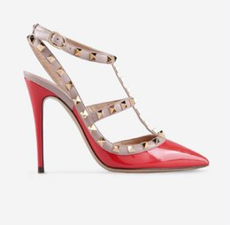 Shoes Studs Woman Australia - Designer Pointed Toe 2-Strap with Studs high heels Patent Leather rivets Sandals Women Studded Strappy Dress Shoes valentine high heel D3