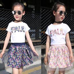 $enCountryForm.capitalKeyWord Australia - 2019 Summer baby girls clothing set children letter printing printed T-shirt+Floral Net yarn Skirt 2pcs suit kids clothes set