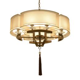 Browning Pendant China Australia - China Cloth Pendant Light round LED Pendant Lamp Dia 58cm 78cm For living room lighting antique study bedroom Home Lighting G877
