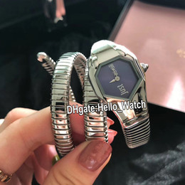 italy quartz watches Canada - Fashion New Italy Just Cavall Womens Watch 34mm Blue Dial Swiss Quartz Snake Winding Stainless Steel Bracelet Lday Watches Hello_Watch