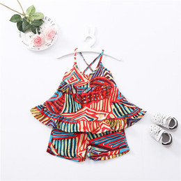 Wholesale styles Baby girls Light home Clothes Casual Short Sleeved T shirt Dress Cute Summer Cotton and hemp breathable set