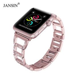 Apple Needle Australia - Jansin Women Stainless Steel Strap For Apple Watch Band 38mm 42mm 40mm 44mm Diamond Bracelet Watch Strap For Iwatch Series 4 3 2 T190620