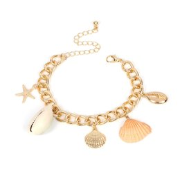 Fashion pearl bracelets online shopping - Shell Starfish Pearl Charm Bracelets Fashion Alloy Chain Bangles for Women Girls Beach Party Statement Jewelry Gifts DHL