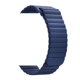 China Adjustable Magnetic Genuine Leather Loop Straps for apple watch band Series 1234 42mm 38mm strap bracelet Closure Loop Black blue brown suppliers